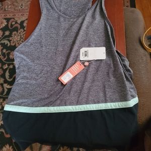 Gray Active Tank with Mint Stripe